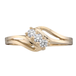 Yellow gold Mothers Ring Style 18 with 3 Stones