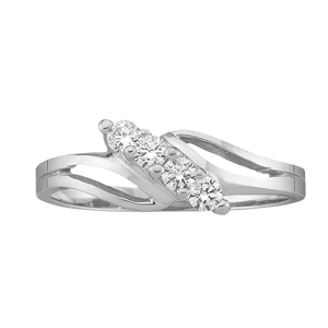 White gold Mothers Ring Style 18 with 4 Stones