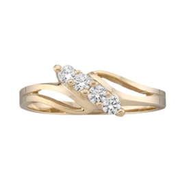 Yellow gold Mothers Ring Style 18 with 4 Stones