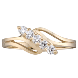 Yellow gold Mothers Ring Style 18 with 5 Stones