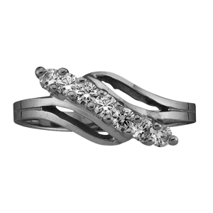 White gold Mothers Ring Style 18 with 7 Stones