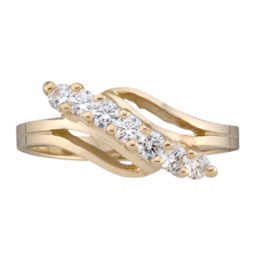 Yellow gold Mothers Ring Style 18 with 7 Stones