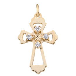 Yellow gold Birthstone Cross Necklace Style 99 with 4 Stones