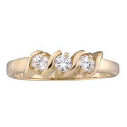 Yellow gold Mothers Ring style 33 with 3 Stones