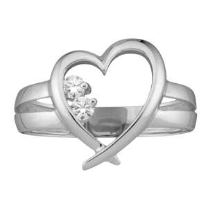 White gold Mothers Ring style 152 Heart Birthstone Ring with 2 Stones