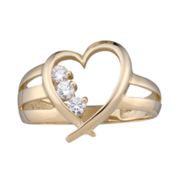 Yellow gold Mothers Ring style 152 with 3 Stones