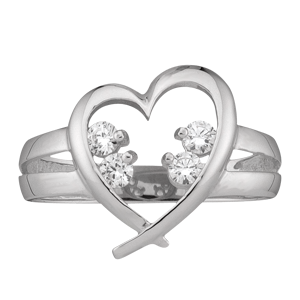 White gold Mothers Ring style 152 Heart Birthstone Ring with 4 Stones