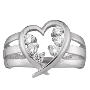 White gold Mothers Ring style 152 Heart Birthstone Ring with 6 Stones