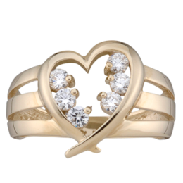 Yellow gold Mothers Ring style 152 with 6 Stones