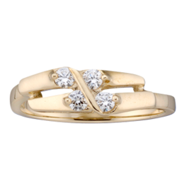 Yellow gold Mothers Ring style 160 with 4 Stones