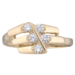 Yellow gold Mothers Ring style 160 with 5 Stones