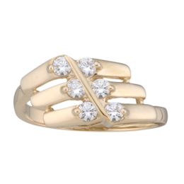 Yellow gold Mothers Ring style 160 with 6 Stones
