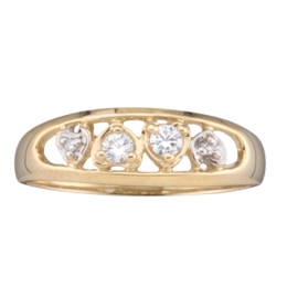 Yellow gold Mothers Ring Style 59 with 2 Stones