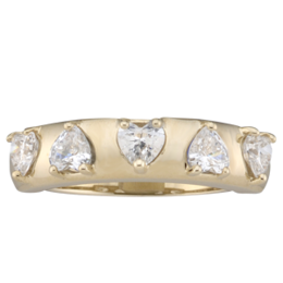 Yellow gold Mothers Ring Style 159 with 5 Stones