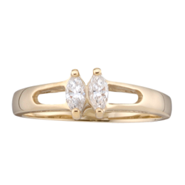 Yellow gold Mothers Ring Style 35 with 2 Stones