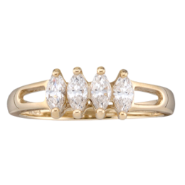 Yellow gold Mothers Ring Style 35 with 4 Stones