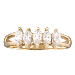 Yellow gold Mothers Ring Style 35 with 5 Stones