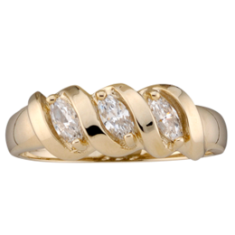 Yellow gold Mothers Ring Style 47 with 3 Stones