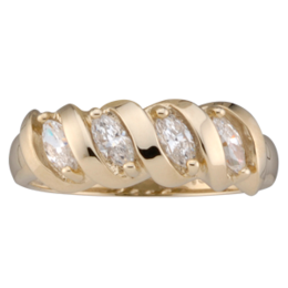 Yellow gold Mothers Ring Style 47 Birthstone Ring with 4 Stones