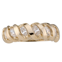 Yellow gold Mothers Ring Style 47 with 6 Stones