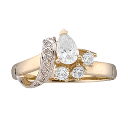 Yellow gold Mothers Ring Style 12 with 4 Stones