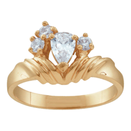 Yellow gold Mothers Ring Style 10 with 4 Stones