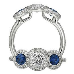 Ritani Endless Love Three Stone Diamond Sapphire Ring