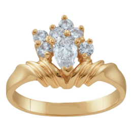 Yellow gold Mothers Ring Style 10 with 7 Stones