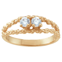 Yellow gold Mothers Ring Style 17 with 2 Stones