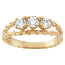 Yellow gold Mothers Ring Style 17 Birthstone Ring with 3 Stones