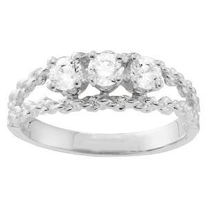 White gold Mothers Ring Style 17 with 3 Stones