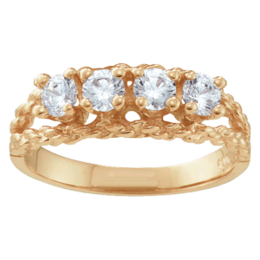 Yellow gold Mothers Ring Style 17 with 4 Stones