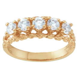 Yellow gold Mothers Ring Style 17 with 5 Stones