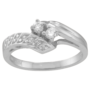 White gold Mothers Ring Style 28 with 2 Stones
