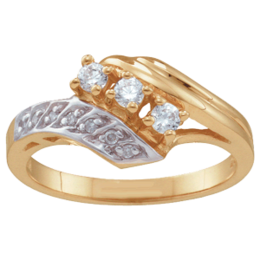 Yellow gold Mothers Ring Style 28 with 3 Stones