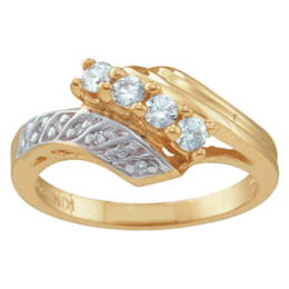 Yellow gold Mothers Ring Style 28 with 4 Stones