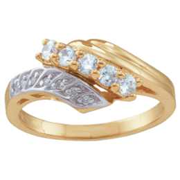 Yellow gold Mothers Ring Style 28 Birthstone Ring with 5 Stones