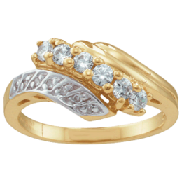 Yellow gold Mothers Ring Style 28 with 6 Stones