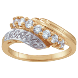 Yellow gold Mothers Ring Style 28 with 7 Stones