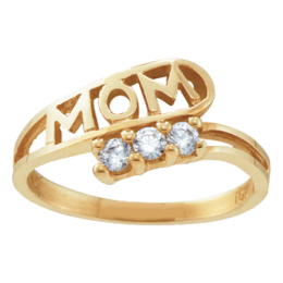 Yellow gold Mothers Ring Style 30 Mom Birthstone Ring with 3 Stones