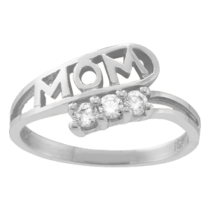 White gold Mothers Ring Style 30 with 3 Stones