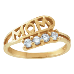 Yellow gold Mothers Ring Style 30 Mom Birthstone Ring with 4 Stones