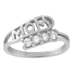 White gold Mothers Ring Style 30 with 4 Stones