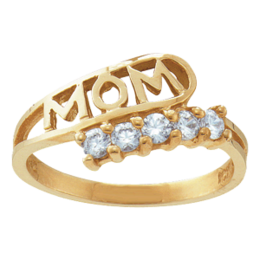 Yellow gold Mothers Ring Style 30 Mom Birthstone Ring with 5 Stones