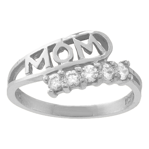 White gold Mothers Ring Style 30 Mom Birthstone Ring with 5 Stones