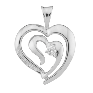 White gold Mothers Pendant Style 174 with 1 Stones