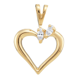 Yellow gold Birthstone Heart Necklace Style 87 with 2 Stones