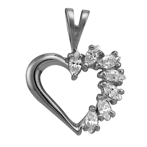 White gold Birthstone Heart Necklace Style 87 with 7 Stones