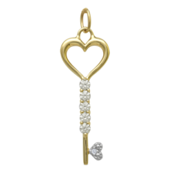 Yellow gold Birthstone Necklace Key Style 259 with 1 Stone