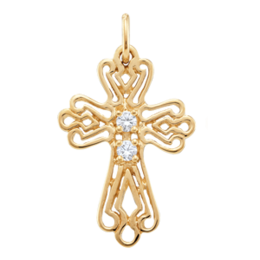 Yellow gold Birthstone Cross Necklace Style 103 with 2 Stones